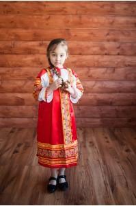 Детский русский народный сарафан «Алёнушка» красный