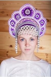 Кокошник «Елена» фиолетового цвета