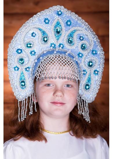 Славянский кокошник «Ульяна» голубого цвета