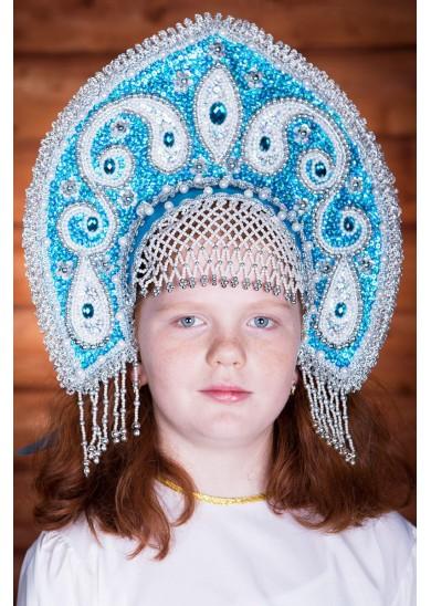 Русский кокошник «Ульяна» голубой