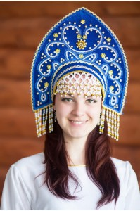 Кокошник «Анна» синий цвет