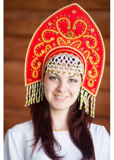Русский народный кокошник «Анна» красный, высота 16 см