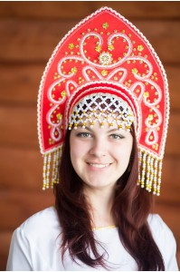 Народный кокошник «Анна», красный цвет