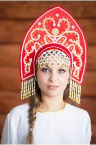 Этнический кокошник «Анна» красный