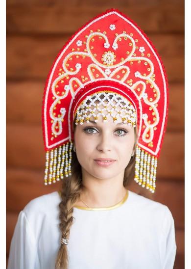 Кокошник «Анна» красный