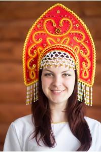 Красный народный кокошник «Анна», декорирован вьюном и тесьмой