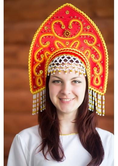 Кокошник «Анна» красный цвет