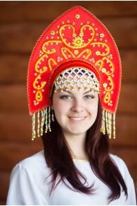 """Славянский кокошник """"Анна"""" красный для ребёнка"""