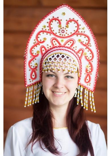Кокошник «Анна» белого цвета