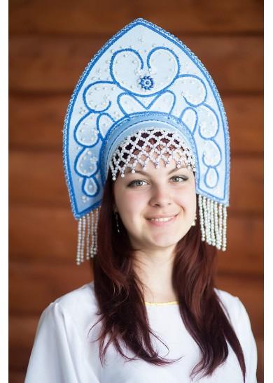 Кокошник «Анна» голубой