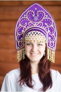 Кокошник «Анна» фиолетового цвета