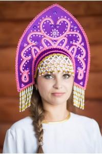Кокошник «Анна» фиолетовый