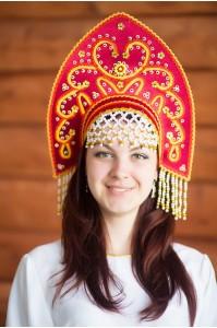 Кокошник «Анна» бордовый цвет