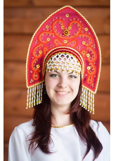 Кокошник «Анна» бордового цвета