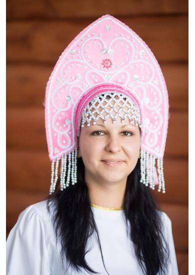Кокошник «Анна» розовый
