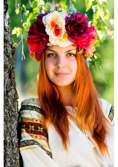 """Венок на голову """"Весна"""" с цветами"""