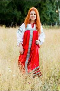 Славянский сарафан «Алёнушка» красный