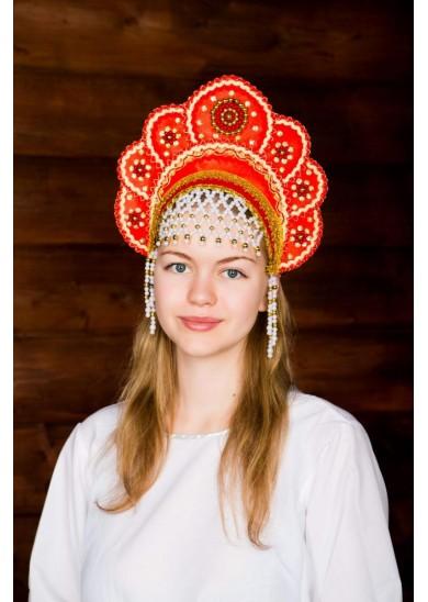 Кокошник «Елена» красного цвета