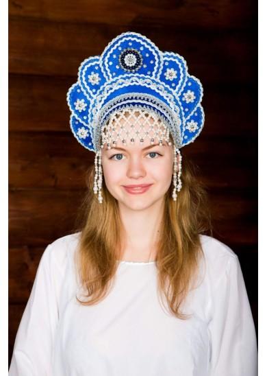 Кокошник «Елена» синий
