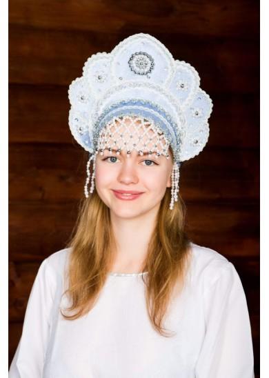 Кокошник «Елена» голубого цвета