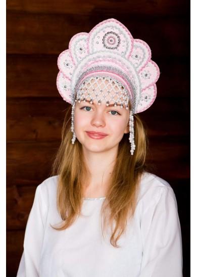 Кокошник «Елена» розового цвета