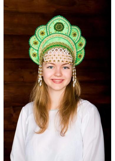 Кокошник «Елена» зеленый