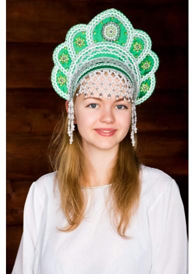 Кокошник «Елена» зеленого цвета