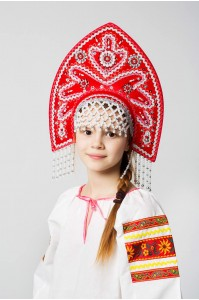 Красный детский кокошник «Анна»