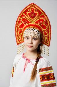 Славянский детский кокошник «Анна» красный