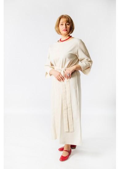 Платье «Доброслава» лён серое