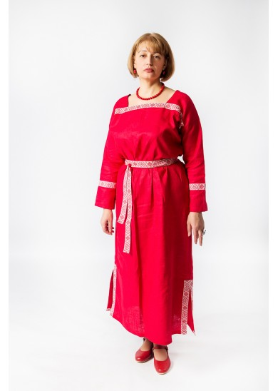 Платье «Милада» лён красное