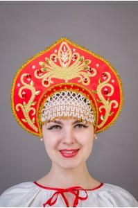 """Кокошник """"Калинка"""" красный"""