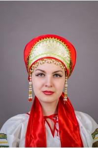 """Кокошник """"Ирина"""" красный"""