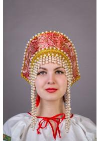 """Кокошник """"Ольга"""" красный"""
