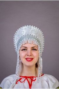 """Кокошник """"Ольга"""" белый"""