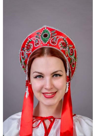 """Кокошник """"Пелагея"""" красный"""