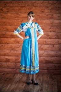 "Русский народный сарафан ""Дарья"" голубой"