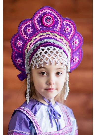 Кокошник «Елена» фиолетовый