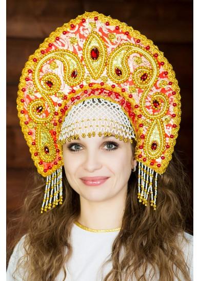 Кокошник «Татьяна» красный
