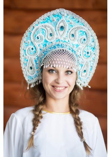 Кокошник «Татьяна» голубой