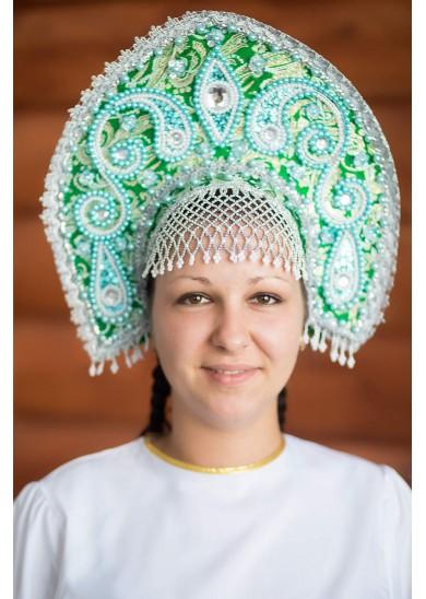 Кокошник «Татьяна» зеленый