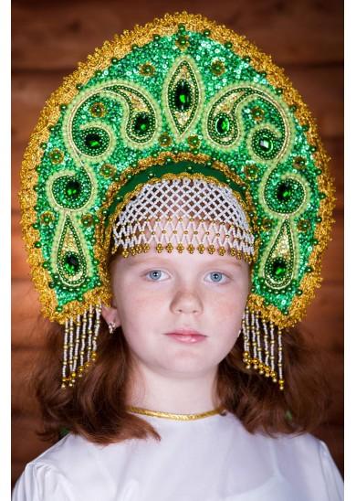 Кокошник «Ульяна» зеленый