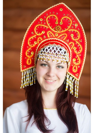 Кокошник «Анна» красного цвета