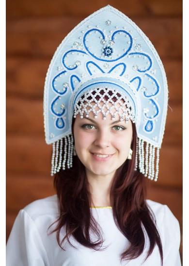 Кокошник «Анна» голубого цвета