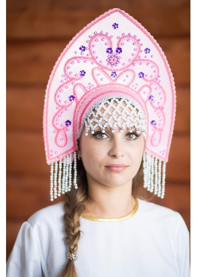 Кокошник «Анна» розового цвета