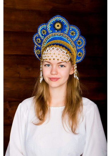 Кокошник «Елена» синего цвета