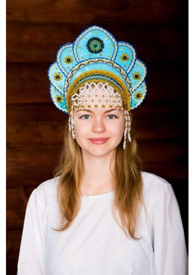 Кокошник «Елена» бирюзового цвета