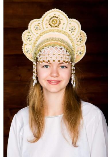Кокошник «Елена» золотого цвета