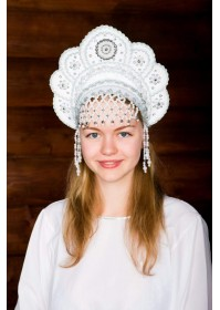 """Кокошник """"Елена"""" белый"""