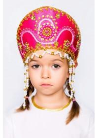 """Кокошник детский """"Алина"""" малиновый"""